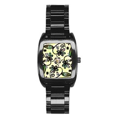 Completely Seamless Tileable Doodle Flower Art Stainless Steel Barrel Watch