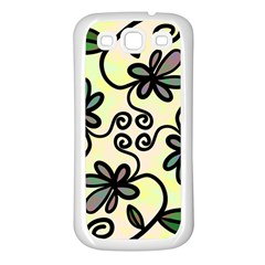 Completely Seamless Tileable Doodle Flower Art Samsung Galaxy S3 Back Case (White)