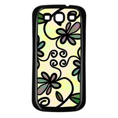Completely Seamless Tileable Doodle Flower Art Samsung Galaxy S3 Back Case (black)