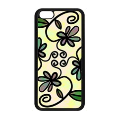 Completely Seamless Tileable Doodle Flower Art Apple Iphone 5c Seamless Case (black)