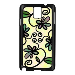 Completely Seamless Tileable Doodle Flower Art Samsung Galaxy Note 3 N9005 Case (black)