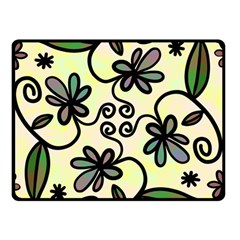 Completely Seamless Tileable Doodle Flower Art Double Sided Fleece Blanket (Small)