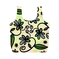 Completely Seamless Tileable Doodle Flower Art Full Print Recycle Bags (m)