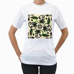 Completely Seamless Tileable Doodle Flower Art Women s T Shirt (white)