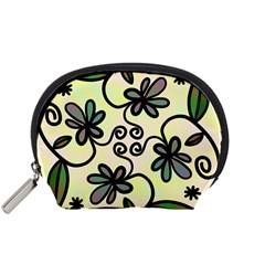 Completely Seamless Tileable Doodle Flower Art Accessory Pouches (small)