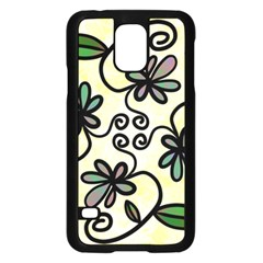 Completely Seamless Tileable Doodle Flower Art Samsung Galaxy S5 Case (black)