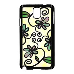 Completely Seamless Tileable Doodle Flower Art Samsung Galaxy Note 3 Neo Hardshell Case (Black)