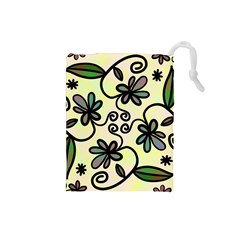 Completely Seamless Tileable Doodle Flower Art Drawstring Pouches (small)