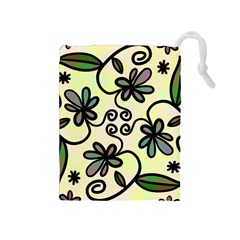 Completely Seamless Tileable Doodle Flower Art Drawstring Pouches (medium)