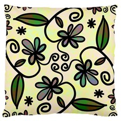 Completely Seamless Tileable Doodle Flower Art Large Flano Cushion Case (One Side)