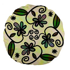 Completely Seamless Tileable Doodle Flower Art Large 18  Premium Flano Round Cushions