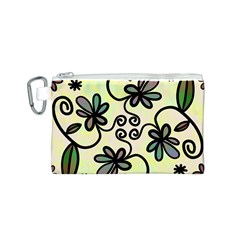 Completely Seamless Tileable Doodle Flower Art Canvas Cosmetic Bag (s)