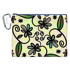 Completely Seamless Tileable Doodle Flower Art Canvas Cosmetic Bag (XXL)