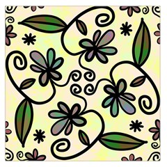 Completely Seamless Tileable Doodle Flower Art Large Satin Scarf (Square)