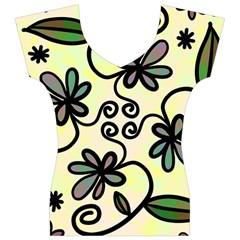 Completely Seamless Tileable Doodle Flower Art Women s V-Neck Cap Sleeve Top