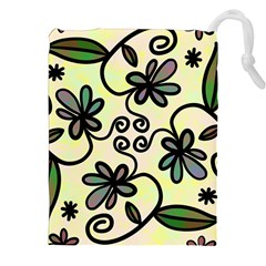 Completely Seamless Tileable Doodle Flower Art Drawstring Pouches (xxl)