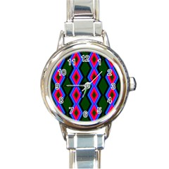 Quadrate Repetition Abstract Pattern Round Italian Charm Watch