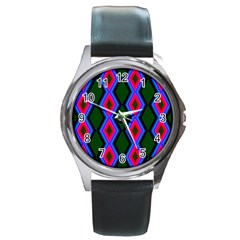 Quadrate Repetition Abstract Pattern Round Metal Watch
