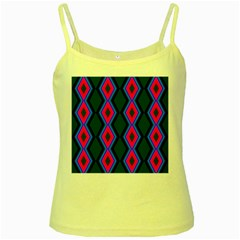 Quadrate Repetition Abstract Pattern Yellow Spaghetti Tank