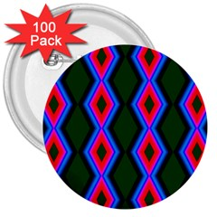 Quadrate Repetition Abstract Pattern 3  Buttons (100 Pack)