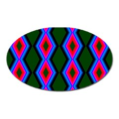 Quadrate Repetition Abstract Pattern Oval Magnet