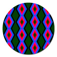 Quadrate Repetition Abstract Pattern Magnet 5  (Round)