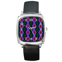 Quadrate Repetition Abstract Pattern Square Metal Watch