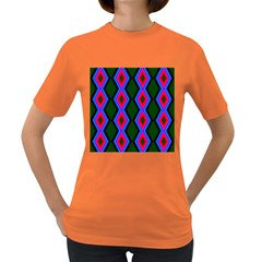 Quadrate Repetition Abstract Pattern Women s Dark T-Shirt