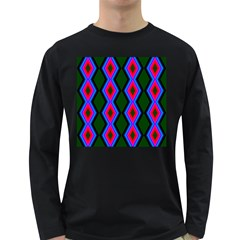 Quadrate Repetition Abstract Pattern Long Sleeve Dark T Shirts