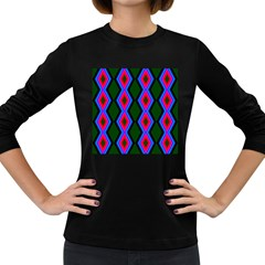 Quadrate Repetition Abstract Pattern Women s Long Sleeve Dark T Shirts