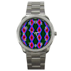 Quadrate Repetition Abstract Pattern Sport Metal Watch