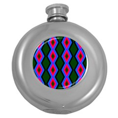 Quadrate Repetition Abstract Pattern Round Hip Flask (5 oz)