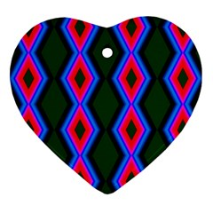 Quadrate Repetition Abstract Pattern Heart Ornament (two Sides)
