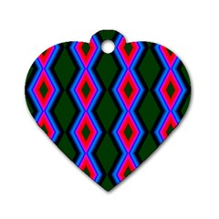 Quadrate Repetition Abstract Pattern Dog Tag Heart (One Side)