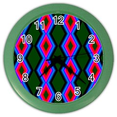Quadrate Repetition Abstract Pattern Color Wall Clocks