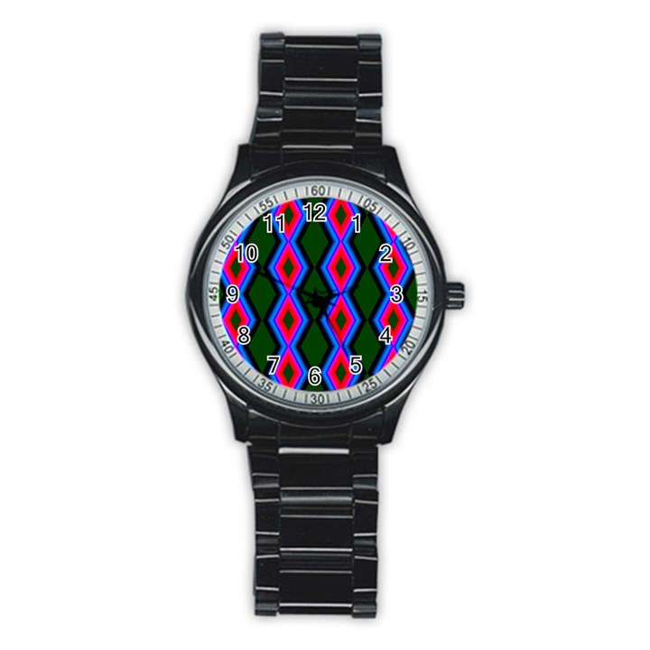 Quadrate Repetition Abstract Pattern Stainless Steel Round Watch