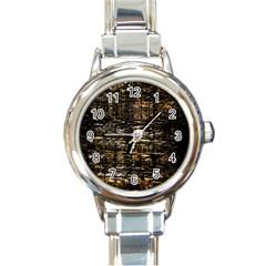 Wood Texture Dark Background Pattern Round Italian Charm Watch