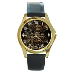 Wood Texture Dark Background Pattern Round Gold Metal Watch