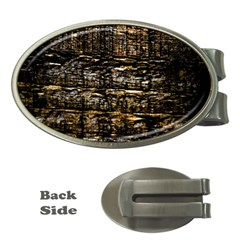 Wood Texture Dark Background Pattern Money Clips (Oval)