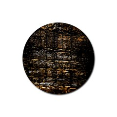 Wood Texture Dark Background Pattern Rubber Coaster (round)