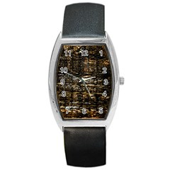 Wood Texture Dark Background Pattern Barrel Style Metal Watch