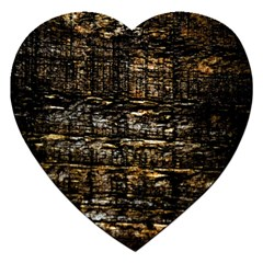 Wood Texture Dark Background Pattern Jigsaw Puzzle (Heart)