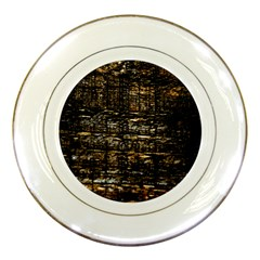 Wood Texture Dark Background Pattern Porcelain Plates