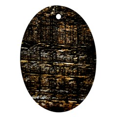 Wood Texture Dark Background Pattern Oval Ornament (two Sides)