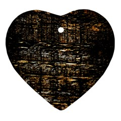 Wood Texture Dark Background Pattern Heart Ornament (Two Sides)