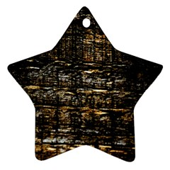 Wood Texture Dark Background Pattern Star Ornament (Two Sides)