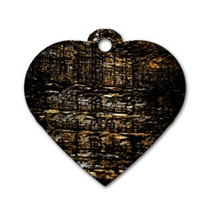 Wood Texture Dark Background Pattern Dog Tag Heart (two Sides)