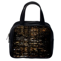 Wood Texture Dark Background Pattern Classic Handbags (One Side)