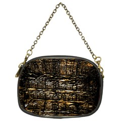 Wood Texture Dark Background Pattern Chain Purses (One Side)