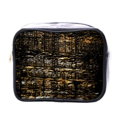 Wood Texture Dark Background Pattern Mini Toiletries Bags